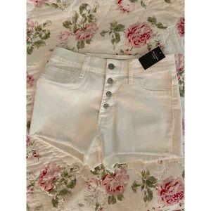 NWT- A&F White High Waisted Denim Shorts